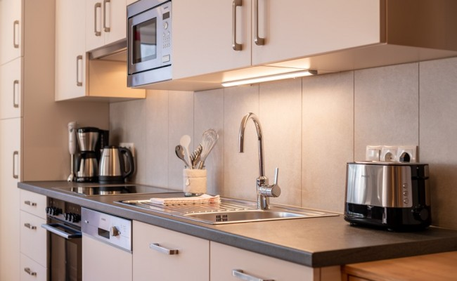Fully equipped apartment kitchen